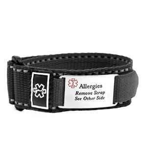 Adjustable Black Sport Allergy Bracelet