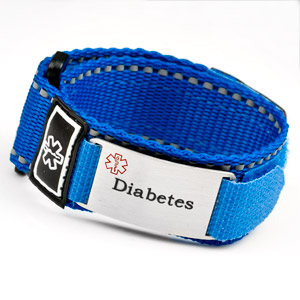 Adjustable Blue Sports Strap Diabetic Bracelet