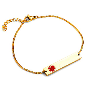 Adjustable Gold Bar Medical ID Bracelet