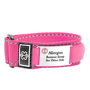 Adjustable Pink Sports Strap Allergy Bracelet