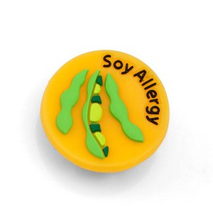Soy Allergy Button for Kids Rubber Medical Bracelet
