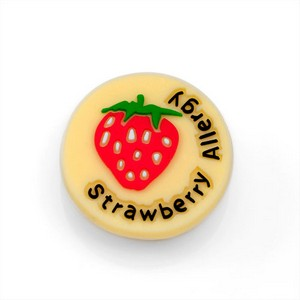 Strawberry Allergy Button for Kids Rubber Medical Bracelet