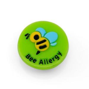 Bee Allergy Button for Kids Rubber Medical Bracelet