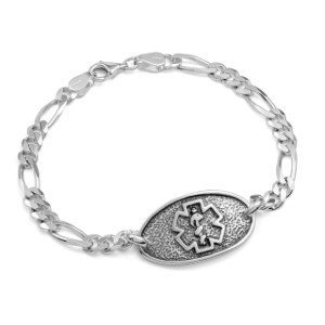 Antique Sterling Silver Medical Bracelet 8 inch