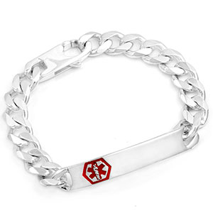 Rihan Sterling Silver Medical ID Bracelet 8 1/2 Inch
