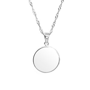 Personalized Sterling Silver Round Pendant Petite