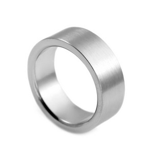 Flat Band Steel Custom Ring Size 6