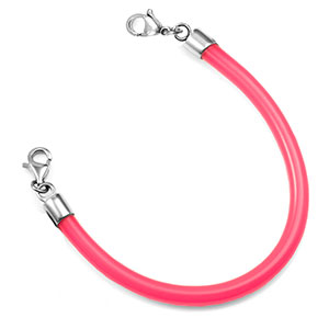 6.5 Inch Pink Rubber Bracelet with Lobster Clasps