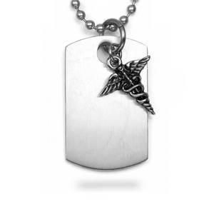 Caduceus Charm Medical Dog Tag Necklace