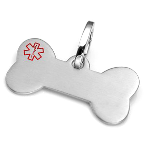 Large Brushed Steel Bone Pet Collar Medical ID Tag