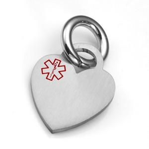 SM Medical Brushed Heart ID Tag for Purses, Pets, & More