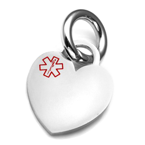 MD Medical Polished Heart ID Tag for Purses, Pets, & More