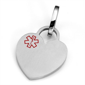 MD Medical Brushed Heart ID Tag for Purses, Pets, & More