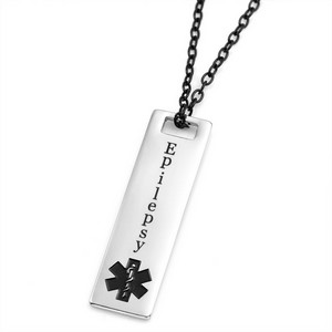 Epilepsy medical alert necklace with black symbol aloadofball Image collections