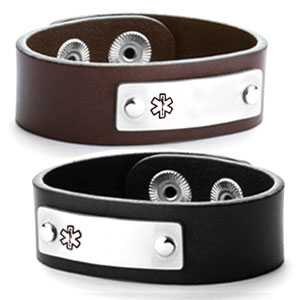 Linden Leather Medical ID Bracelets