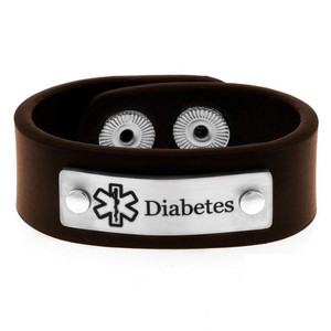 Childs Adjustable Brown Leather Diabetic Bracelet