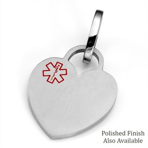 MD Stainless Heart Medical ID Tags for Purses, Pets, & More