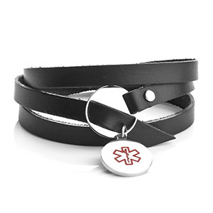 Black Wrap Style Leather ID Bracelet