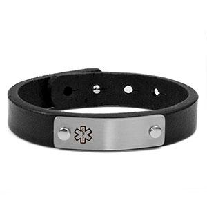 Black Leather Adjustable Medical Alert Bracelet