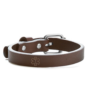 Genuine Leather Buckle Style Diabetic Bracelets