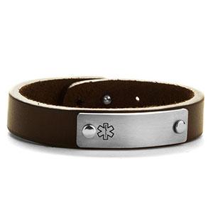 Adjustable Classic Leather Medical ID Bracelet