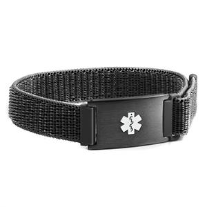 Black Fabric Adjustable Medical ID Bracelet