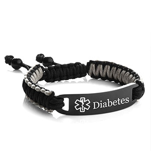 Black & Grey Macrame Diabetic Bracelet