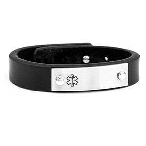 Black Leather Adjustable Medical Alert Bracelet
