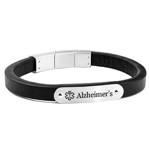 Black Leather and Silver Alzheimer's Bracelet