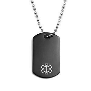 Black Dog Tag Medical ID Necklace