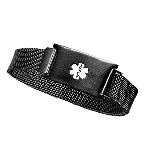 Black Stainless Magnetic Closure Medical Bracelet