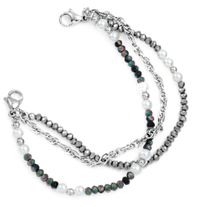 Black Triple Strand Bead Bracelet for Medical Tags 6 inch