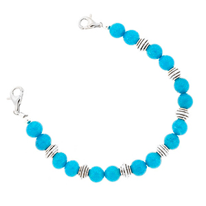 Blue and Silver Bead Bracelet 6 inches