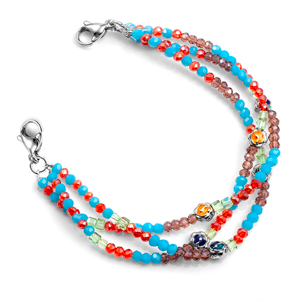 Blue Purple and Red Stretch Bracelet for Medical Tags 6 inch