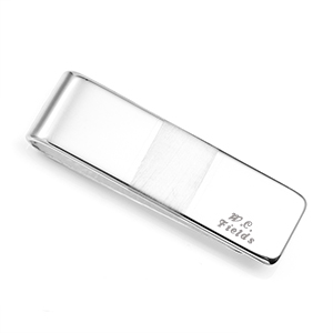 Brushed Accent Sterling Silver Money Clip 2 In