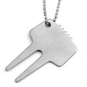 Brushed Stainless Steel Golf Divot Repair Tool Keychain