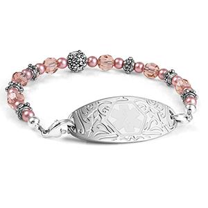 Carnation Pink Beaded Medical Alert Bracelet