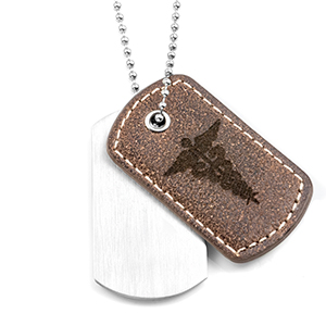 Casual Leather and Steel Medical Dog Tag Necklace
