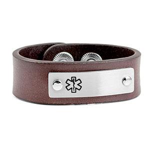 Child's Brown Leather Medical ID Bracelet