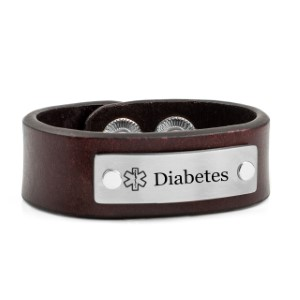 Childs Adjustable Brown Leather Diabetic Bracelet