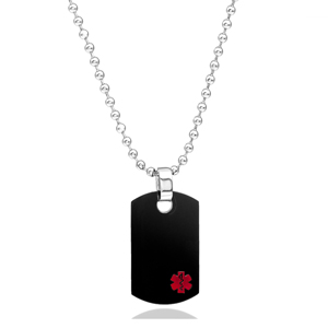 Classic Black Medical Dog Tag Necklace