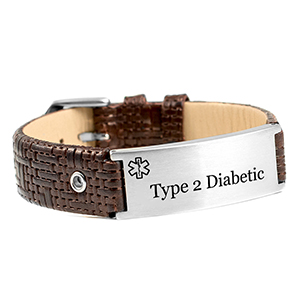 Classy Dark Brown Leather Diabetic Type 2 Bracelet