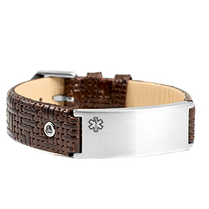 Classy Dark Brown Leather Medical ID Bracelet
