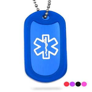 Color My World Medical Dog Tag Necklace