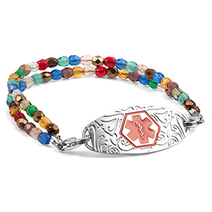 Colorful Bead Medical Bracelet with Designer Tag