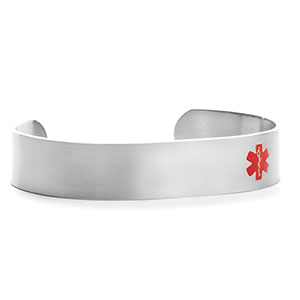 Zaine Brushed Titanium Medical ID Cuff Bracelet Large