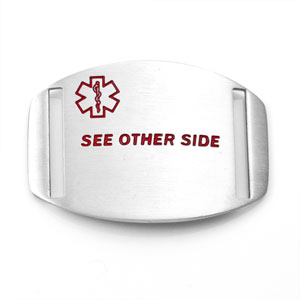 Stainless Medical ID Tag with SEE OTHER SIDE for Straps