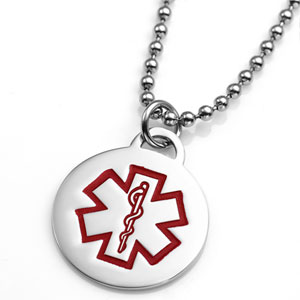 Round Stainless Steel Medical ID Small Pendant