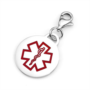 Quarter Inch Stainless Steel Round Medical ID Charm