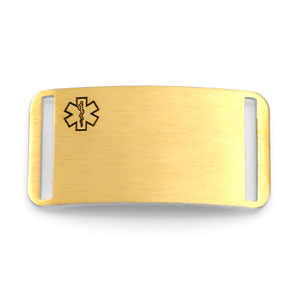 Gold Plated Medical ID Tag for Strap Bracelets